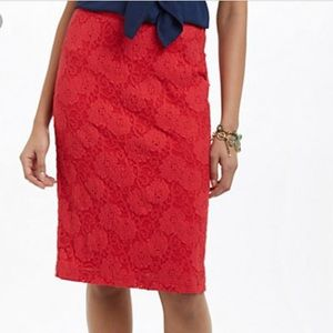 Maeve Anthropologie Red Lace Midi Pencil Skirt